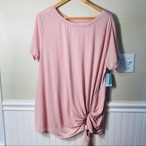 Susina Plus 1x NWT Tie Front T in Pink Adobe